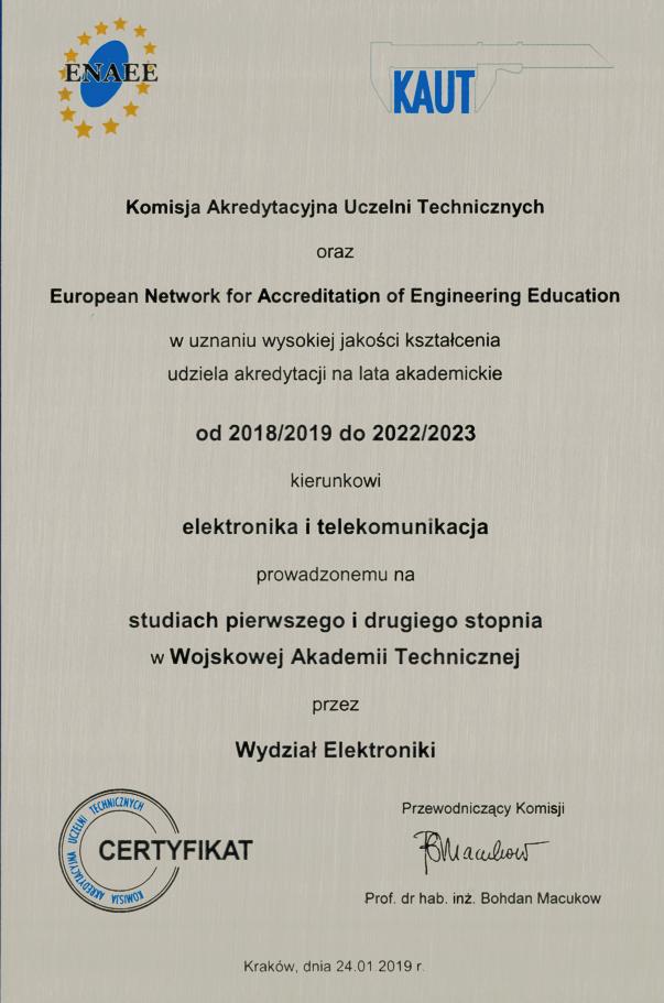 Akredytacja KAUT i ENAEE dla kierunku Elektronika i Telekomunikacja